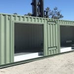 Modified Shipping Containers WA - Lube Rooms with Roller Doors up